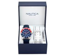 Nautica Herren-Armbanduhr XL Analog Quarz Leder A14669G