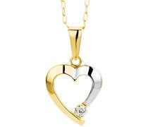 Damen-Halskette Herz 375 Gelbgold Zirkonia farblos 45 cm