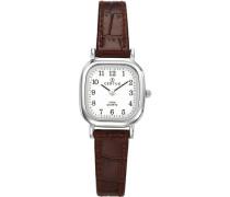 –644406Damen-Armbanduhr–Quarz Analog–Weißes Ziffernblatt–Armband Leder braun
