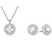 Damen-Halskette + Ohrringe TF SOLIS + SOLITA 45 S RH WCZ Versilbert Kristall transparent Brillantschliff - TF 10348