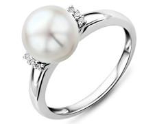 Damen-Ring 9 Karat 375 Weißgold Perle 6 Brillanten 0.04 Karat MG9006RM