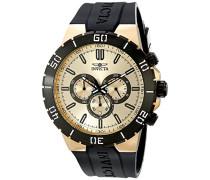 Herren Armbanduhr Pro Diver mit Gold Zifferblatt Chronograph-Anzeige auf Schwarz PU Gurt Bordelais 19197Mini
