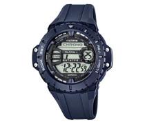 Herren Digitale Armbanduhr mit LCD Dial Digital Display und Blau Kunststoff Gurt k5689/2