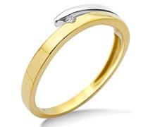 Damen-Ring 9 Karat (375) Gelb-/Weißgold mit Brillant, Größe 50 MIN907R0