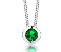 Damen-Kette Mit Anhänger 925 Sterling- Silber Rundschliff Grün Smaragd 45cm, silber(Smaragdgrün)