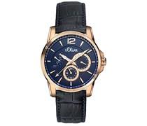 s.Oliver Herren-Armbanduhr XL Analog Quarz Leder SO-2938-LQ