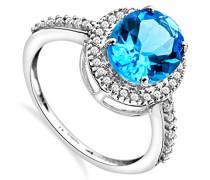 Damen-Ring 375 Weißgold ovale Blau Topas Brillanten