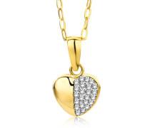 Damen-Halskette mit Anhänger Herz Zirkonia 9 Karat 375 Gelbgold 45cm MA9045ZN