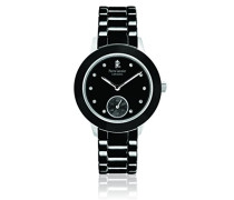 064K939–Elégance Keramik Damen-Armbanduhr–Quarz Analog–Zifferblatt schwarz Armband Keramik Schwarz