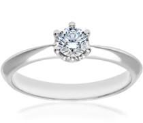 Damen-Ring 6-Krallen 18 K Weißgold D/SI2 Diamant 0,33 ct Rundschliff