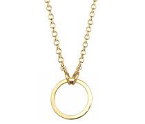 Damen Schmuck Halskette Kette mit Anhänger Basic Kreis Charmträger Silber 925 Vergoldet Länge 45 cm