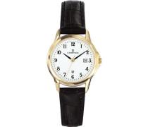 –646572Damen-Armbanduhr–Quarz Analog–Weißes Ziffernblatt–Armband Leder Schwarz