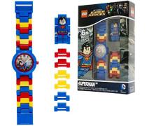 DC Comics Super Heroes Superman Kinder-Armbanduhr mit Minifigur und Gliederarmband zum Zusammenbauen