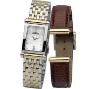 Damen-COF17048/BT59M Damen-Armbanduhr-Quarz-Analog Edelstahl zweifarbig