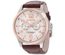 Invicta Herren-Armbanduhr XL Analog Quarz Leder 13010