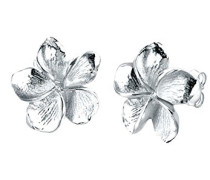 Damen Ohrstecker Frangipani Blüte 925 Sterling Silber