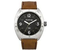 Firetrap Herren-Armbanduhr Analog Quarz Leder FT2000BR