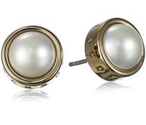 Dyrberg/Kern Damen-Ohrstecker Icons Sigrid Sg White Messing teilvergoldet Perle weiß Prinzess - 337145
