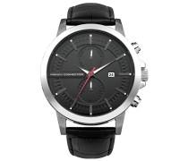 French Connection Herren-Quarzuhr mit schwarzem Zifferblatt Analog-Anzeige und schwarz Lederband fc1270ba