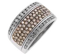 9ct Weiß Gold Pavee Ring mit 26weiß und 58Champagner Diamanten 1,3ct von –Größe K