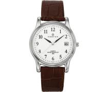 Certus-610592-Armbanduhr-Quarz Analog-Weißes Ziffernblatt-Armband Leder braun