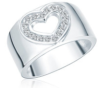 Damen-Ring Classic Collection 925 Sterling Silber Zirkonia Herz