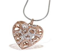 Damen-Herz-Halskette  Oriental Herz beweglich 925 Sterlingsilber 91 weiße Zirkonia Herzanhänger