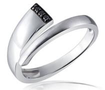 Damen-Ring Black Diamonds 925 Sterlingsilber 3 schwarze Diamanten 0,3 ct.