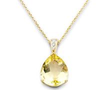 Damen-Anhänger 375 Gelbgold Quarz gelb Tropfenschliff Diamant 45 cm - MY057N