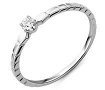 Damen Solitär-Ring Weißgold 9 kt Diamant 0,08 ct-MY049R6 T56