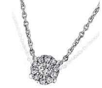Damen-Halskette Glamour 375 Weißgold 11 Diamanten 0,08 ct. Kettenanhänger Brillanten Schmuck Diamantkette