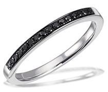 Damen-Ring Memoire Black 925 Silber rhodiniert Diamant (0.15 ct) schwarz Brillantschliff