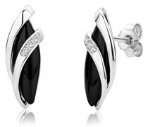 Damen-Ohrstecker 925 Sterling Silber Onyx und Zirkonia
