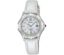 Seiko-SXDE07P2Damen-Armbanduhr-Quarz Analog-Ziffernblatt Perlmutt-Armband Leder Weiß