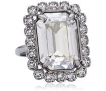 Damen-Ring Metall -Kristall weiß