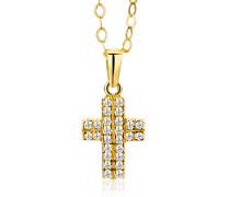 Damen-Halskette mit Anhänger Zirkonia 9 Karat 375 Gelbgold 45cm MA9047ZN