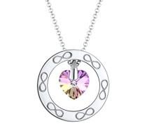 Premium Damen-Kette mit Anhänger Herz Infinity 925 Silber rhodiniert Swarovski Kristalle pink Rundschliff 60 cm 0101412417_60