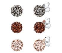 Damen Ohrstecker Kugel 925 Sterling Silber mit Swarovski Kristallen Brillantschliff mehrfarbig 0311160614
