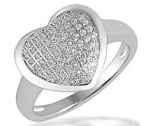Damen-Ring Herz PremiumShine 925 Sterlingsilber 64 klare Zirkonia