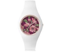 - ICE flower Poppy - Weiße Damenuhr mit Silikonarmband - 001296 (Medium)