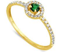 Damen-Ring 9 Karat (375) Gelbgold Smaragd-badm 07090-0001