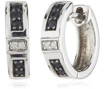Damen-Creolen 925 Sterling Silber 4x Diamanten 0.01 ct. 10x Saphir schwarz 0,04 ct. 340210026
