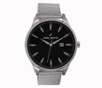DHH 019/AM Herren Uhr, Quarz, analog, schwarzes Zifferblatt, Armband aus silberfarbenem Stahl