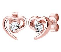 Damen Schmuck Ohrringe Ohrstecker Herz Liebe Freundschaft Liebesbeweis Silber 925 Rosé Vergoldet Swarovski Kristalle