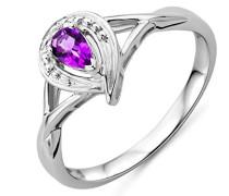 Damen-Ring 375 Weißgold Amethyst und Brillanten