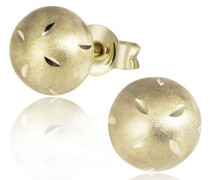 Damen-Ohrstecker 333 Gelbgold 333 Halbkugel hochglanzpoliert und matt Ohrringe Schmuck