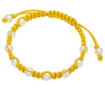 Damen-Armband Länge flexibel verstellbar 16 bis 23cm - Baumwolle Perle Süßwasser-Zuchtperle Weiß- 60923038