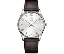 Calvin Klein Herren-Armbanduhr Analog Quarz Leder K4D211G6