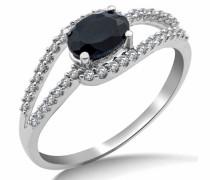 SA9024R Ring, Weißgold 9Karat (375), Onyx und Diamant