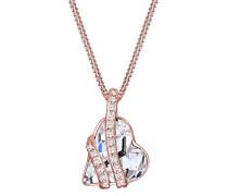 Damen-Kette mit Anhänger Herz 925 Silber Swarovski Kristalle weiß Herzschliff 45 cm 0102810817_45
